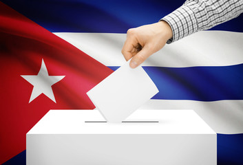 Ballot box with national flag on background - Cuba