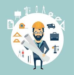 Architect holding blueprints illustration