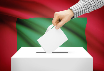 Ballot box with national flag on background - Maldives