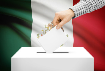 Ballot box with national flag on background - Mexico