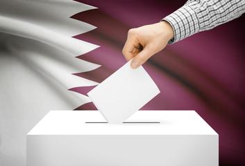 Ballot box with national flag on background - Qatar