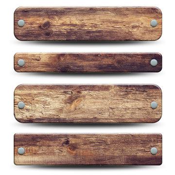4 plaques en bois rustique