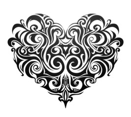 Tribal heart shape tattoo