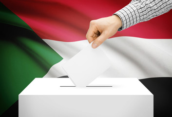Ballot box with national flag on background - Sudan