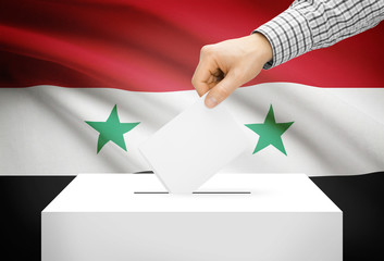 Ballot box with national flag on background - Syria