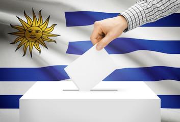 Ballot box with national flag on background - Uruguay