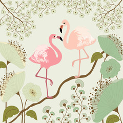 Floral background with flamingos