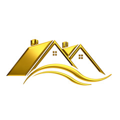 Golden houses real estate image.