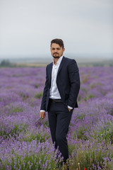 Young man in a lavender field.