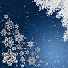 Blue background with snowflakes .