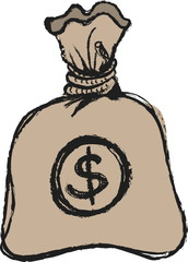 doodle money bag