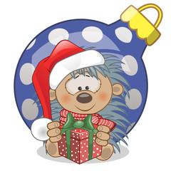 Hedgehog in a Santa hat