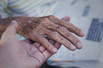 Hand of an old man