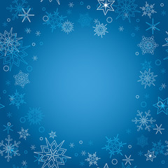 background - vector blue christmas card with snowflakes