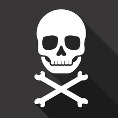 Vector Skull and Crossbones Flat Icon