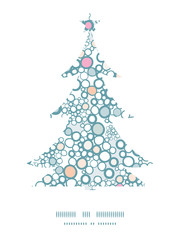 Vector colorful bubbles Christmas tree silhouette pattern frame