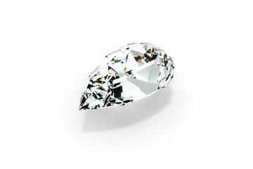 Diamond Pear Cut (Tear Drop), White Background