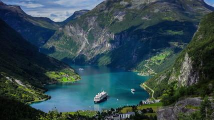 Fotomurales - 4k, Timelapse, Geiranger fjord, Norway