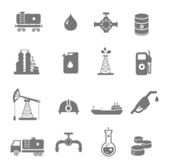 Oil industry gasoline processing symbols icons set with oilman