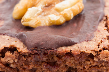 Close-up of a brownie with chocolate and a walnut