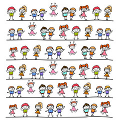 hand drawing cartoon abstract happy kids
