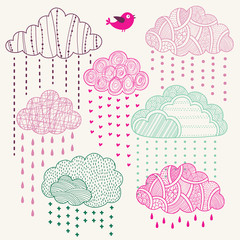 Wall Mural - Set of vector lacy clouds