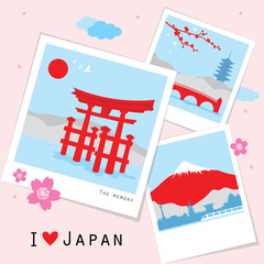 Japan View Travel Photo Frame Memory Vector