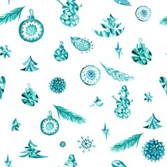 Turquoise christmas watercolor pattern