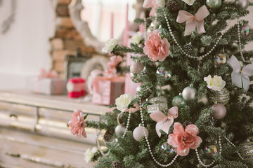 New Year's and Christmas interior in pink color 4