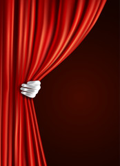Theater curtain with hand