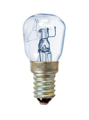 Old blue lightbulb over white