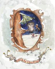 Owl Christmas vintage greeting card