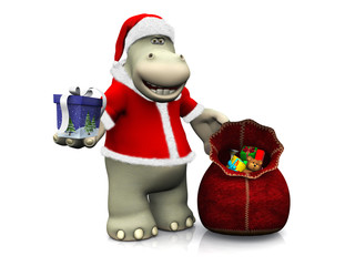 Cartoon hippo handing out Christmas gifts.