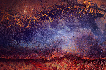 Poster Texturen orange blue abstract rust texture