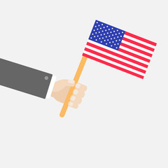 Businessman hand holding american flag Isolated Flat