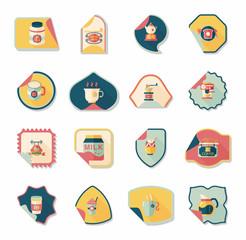 Coffee sticker flat banner background set, eps10