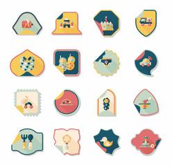 baby sticker banner design flat background set, eps10