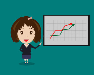 Business Woman and Graph Board