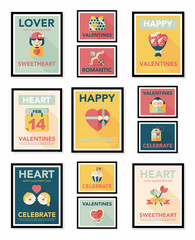 Valentine's Day poster flat banner design flat background set,