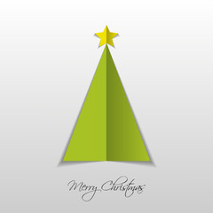 Green paper Christmas tree. Vector