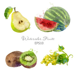 pear, watermelon, kiwi, grape