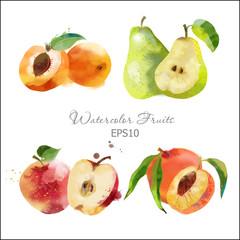 pear,apple,peach,set