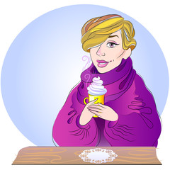A vector illustration of a beautiful winter woman drinking coffe