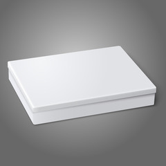 Blank white flat package box lying isolated on gray background.