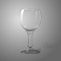 Blank transparent photo realistic isolated on grey wine glass,