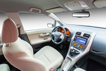 Modern beige car interior
