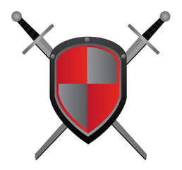 Two swords and red shield