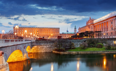 Stockholm - Riksdag, palace and Norrbro Bridge, Sweden