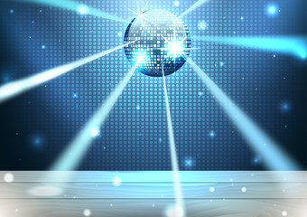 Music stage with disco ball and lights