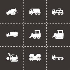 Vector black construction transport icon set